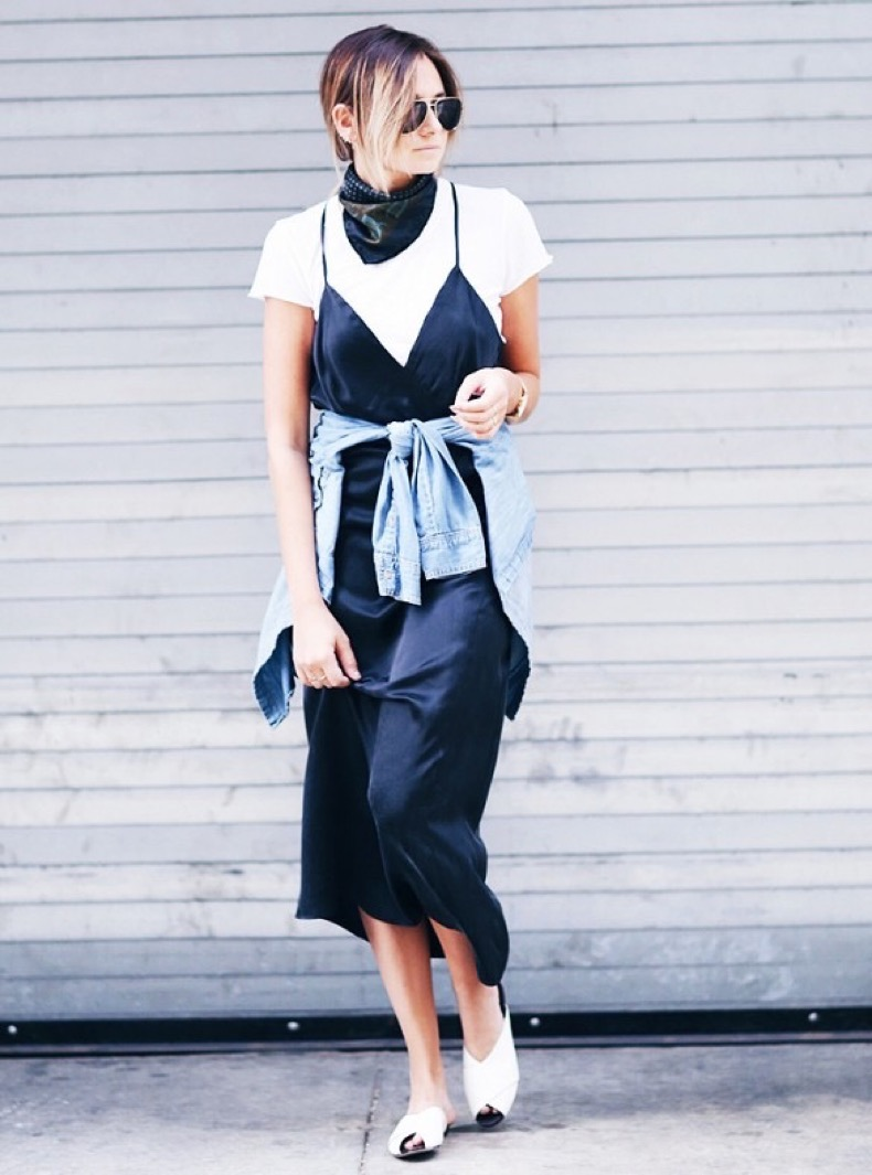 night-to-day-dressing-evening-to-day-dressing-slip-dress-over-white-tee-scarf-jean-jacket-denim-jacket-fall-dresses-outfits