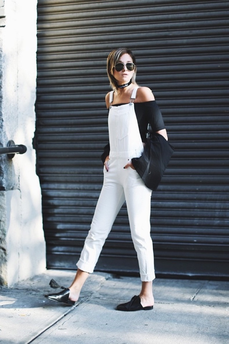 overalls-black-and-white-off-the-shoulder-crop-top-and-overalls-mules-slides-flats-flat-mules-slide-mules-we-wore-what