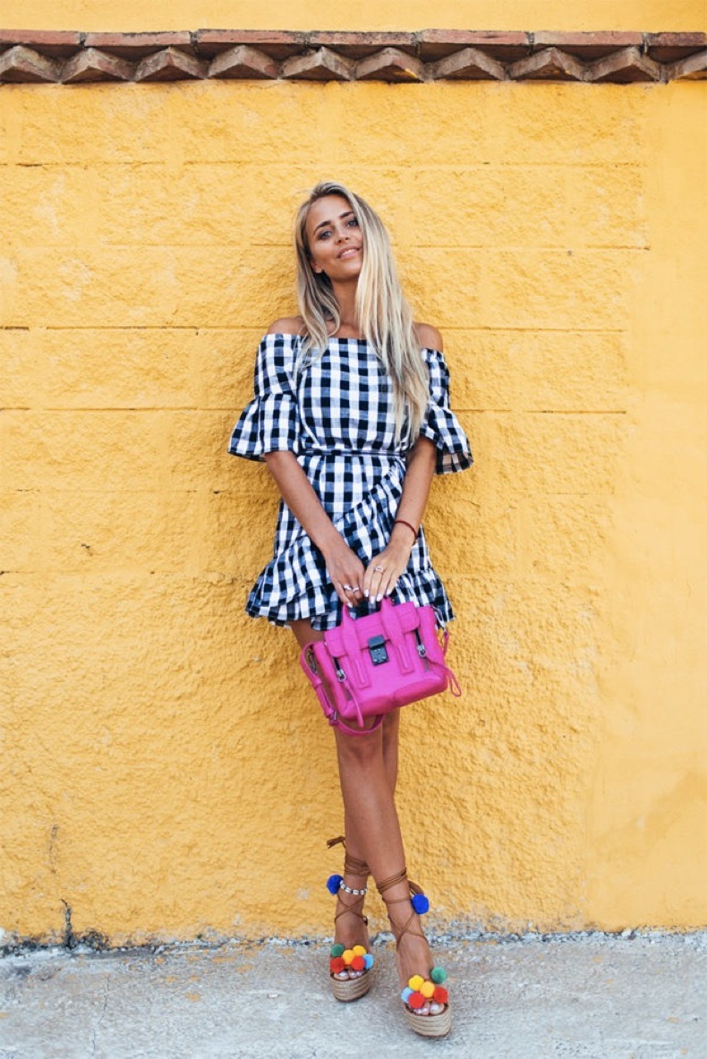 pom-pom-sandals-checkered-gingham-off-the-shoulder-dress-summer-party-beach-janni-deler-via-bloglovin-640x958