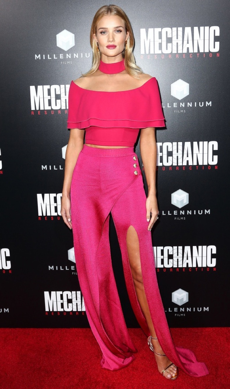 Mandatory Credit: Photo by John Salangsang/Shutterstock/REX/Shutterstock (5839812ad) Rosie Huntington-Whiteley 'Mechanic: Resurrection' film premiere, Arrivals, Los Angeles, USA - 22 Aug 2016 WEARING BALMAIN