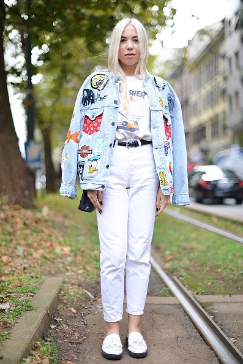 MILAN, ITALY - SEPTEMBER 27: Michela Milesi poses wearing a Thrasher t-shirt before the Dolce and Gabbana show during the Milan Fashion Week Spring/Summer 16 on September 27, 2015 in Milan, Italy. (Photo by Vanni Bassetti/Getty Images)