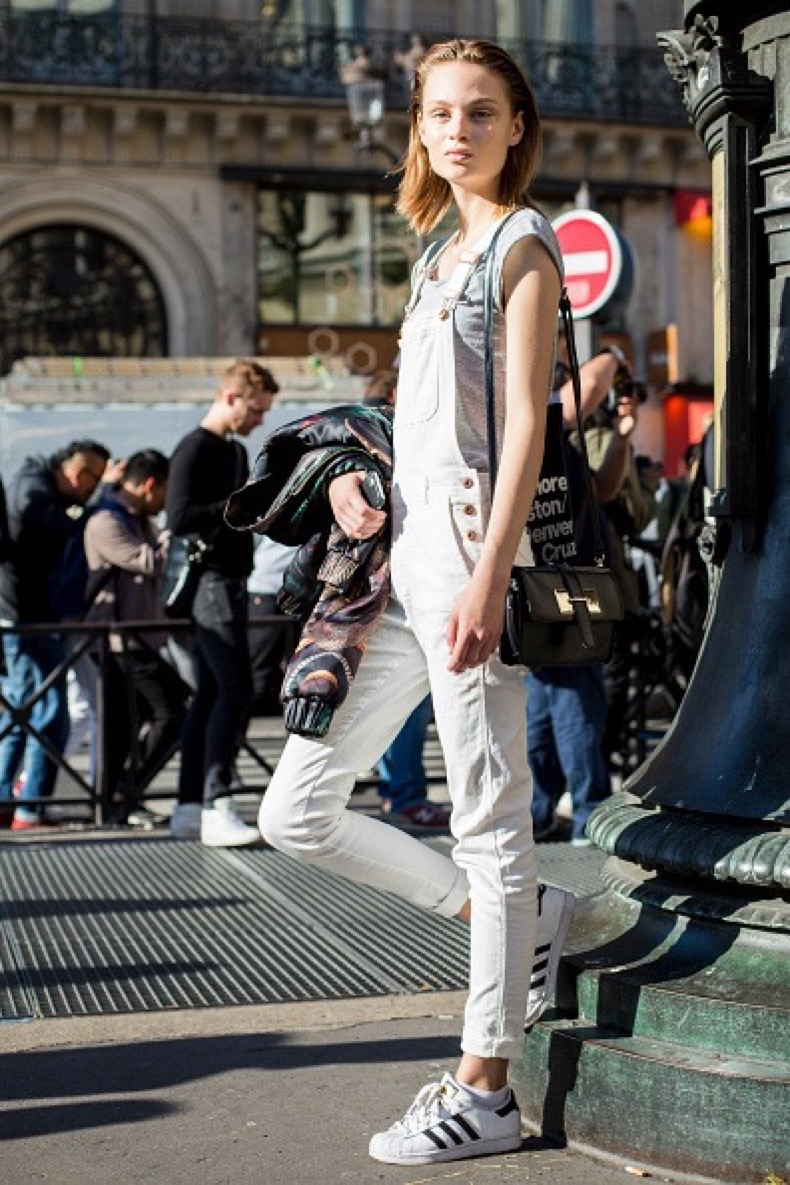 PARIS, FRANCE - OCTOBER 03: Model Miranda Nystrom poses after the Stella McCartney show on day 7 of Paris Womens Fashion Week Spring/Summer 2017, on October 3, 2016 in Paris, France. (Photo by Claudio Lavenia/Getty Images)