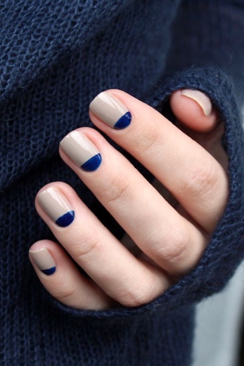 le-fashion-blog-diy-nail-art-navy-and-taupe-half-moon-manicure-dark-blue-sweater-via-muxe
