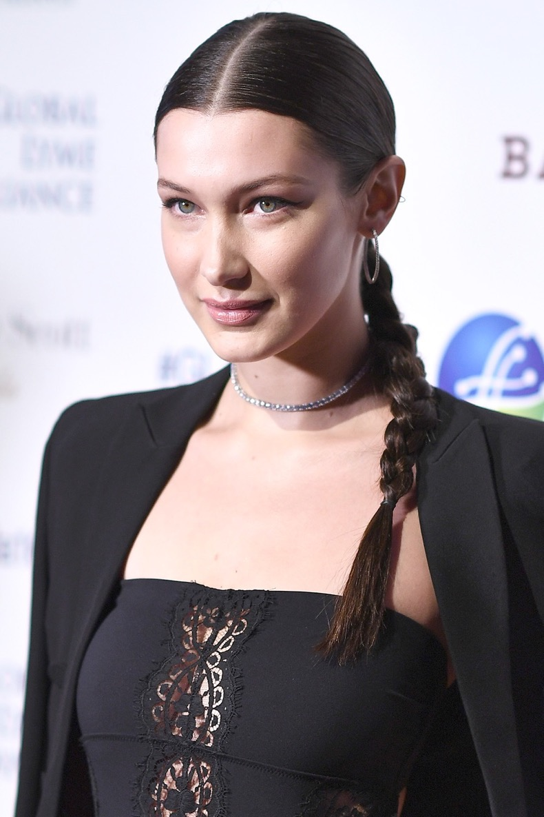 "NEW YORK, NY - OCTOBER 13:  Honoree Bella Hadid attends Global Lyme Alliance's second annual ""United For A Lyme-Free World"" gala on October 13, 2016 in New York City.  (Photo by Dimitrios Kambouris/Getty Images for Global Lyme Alliance)"