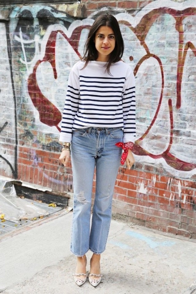 stripes-striped-tee-cutoff-cropped-jeans-frayed-denim-bandana-style-hacks-scarf-wrist-man-repeller-leandra-medine-via-www-640x957