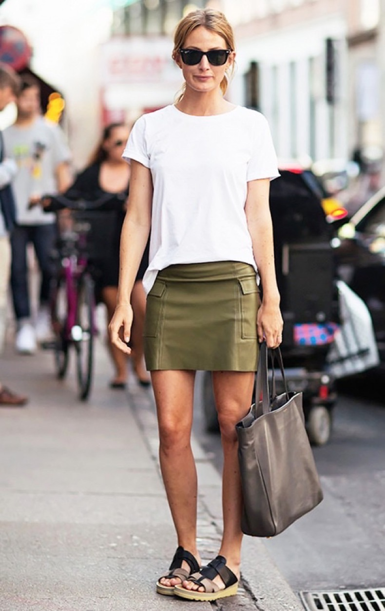 summer-to-fall-white-tee-army-green-skirt-leather-smini-skirt-slides-sandals-via-stockholm-street-style