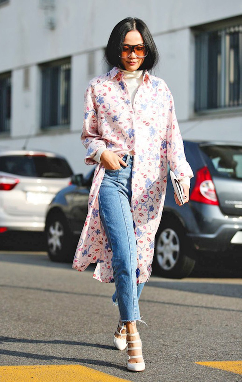 le-fashion-blog-street-style-mfw-oversize-sunglasses-pink-shirtdress-turtleneck-jeans-strappy-white-pumps-via-refinery29