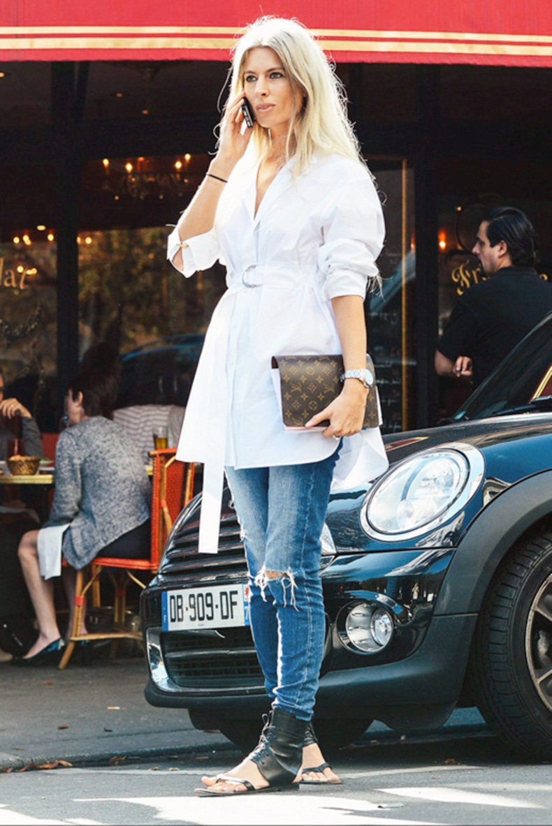 le-fashion-blog-street-style-sarah-harris-elevated-casual-look-belted-tie-front-white-shirtdress-distressed-skinny-denim-black-leather-ankle-wrap-sandals-via-vogue