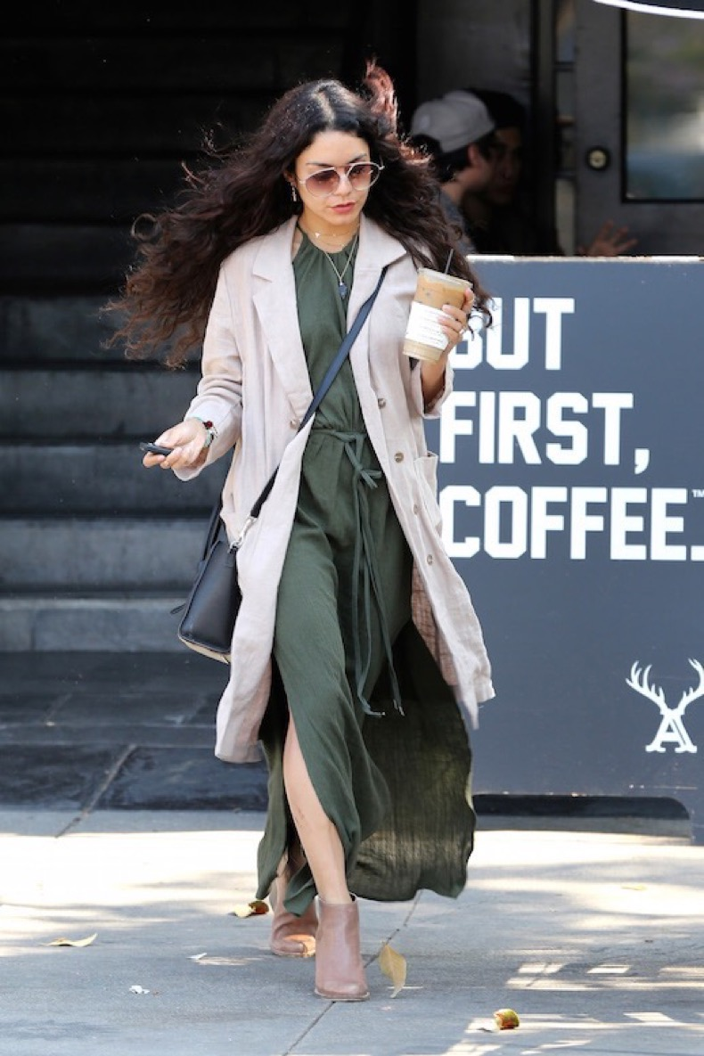 West Hollywood, CA - West Hollywood, CA - Brunette cutie Vanessa Hudgens makes a pit stop at Alfred's Coffee to grab a quick iced coffee to go.  Vanessa looked cute in a light tan trench over a full length green dress and nude boots.    AKM-GSI 9 MAY 2016  To License These Photos, Please Contact :  Maria Buda  (917) 242-1505  mbuda@akmgsi.com or    Steve Ginsburg  (310) 505-8447  (323) 423-9397  steve@akmgsi.com  sales@akmgsi.com