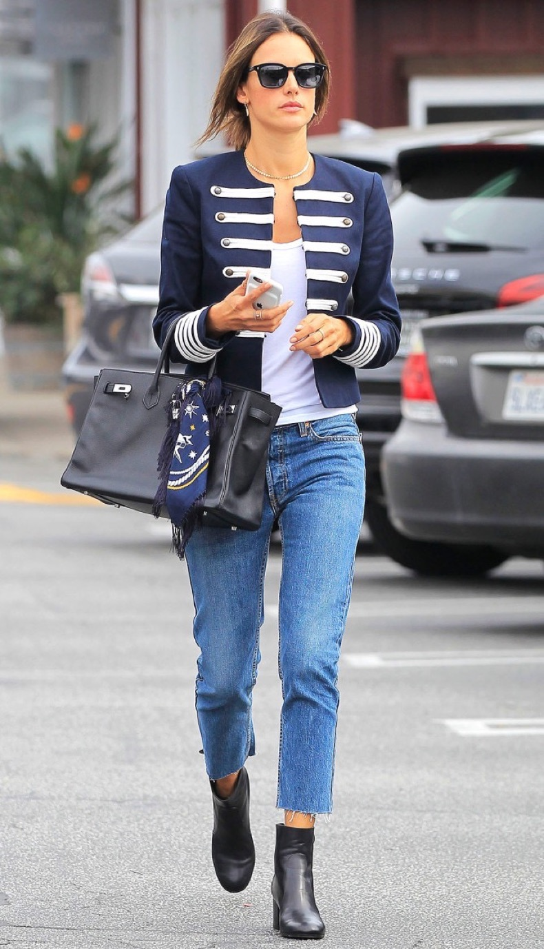 Brentwood, CA - Alessandra Ambrosio shows off her impeccable fashion sense as she goes shopping in sunglasses, a blue and white blazer, white top, cut off blue jeans, and black ankle boots which matched her black Hermes tote bag. AKM-GSI          October 27, 2016 To License These Photos, Please Contact : Maria Buda (917) 242-1505 mbuda@akmgsi.com sales@akmgsi.com or  Mark Satter (317) 691-9592 msatter@akmgsi.com sales@akmgsi.com www.akmgsi.com