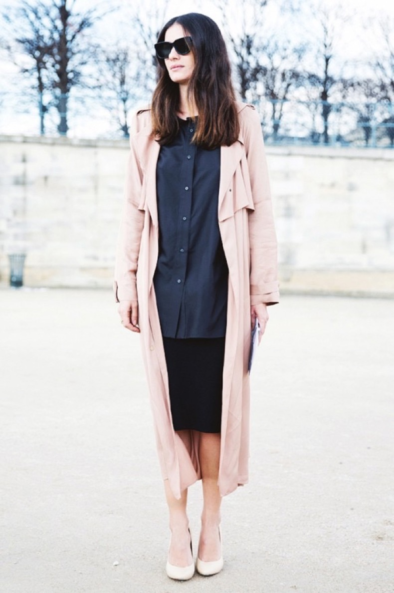 black-pencil-skirt-navy-button-up-oxford-blush-pink-spring-coat-work-outfits-navy-and-black-spring-outfits-via-collagevintage