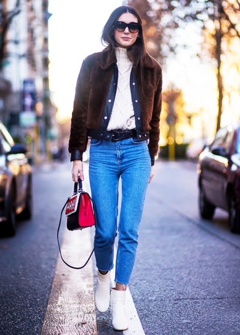 fisherman-sweater-tucked-in-sweater-belted-shearilng-coat-fur-bomber-jacket-high-easited-mom-jeans-frayed-hemline-white-booties-winter-outfit-weekend-outfit-night-out-going-out-www