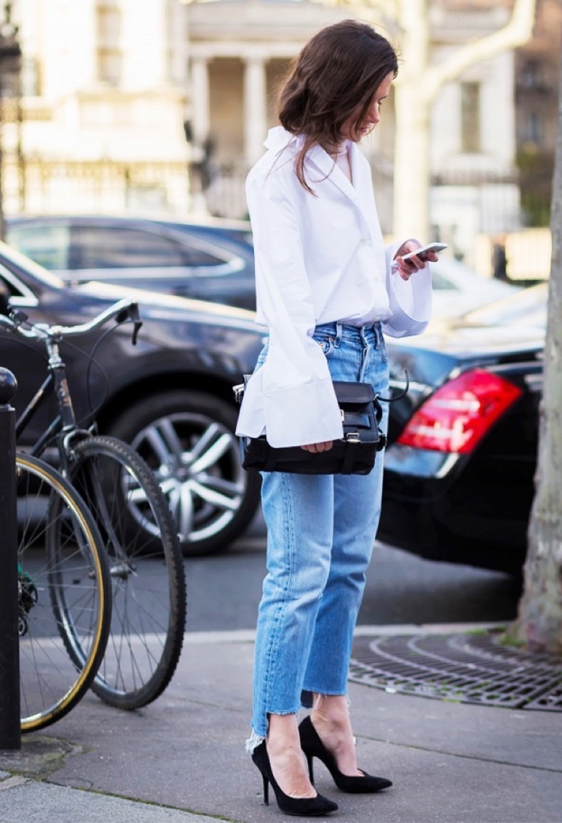oversized-cuffs-frayed-denim-simiple-black-pumps-going-out-night-out-office-to-out-work-www