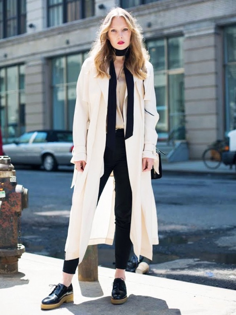 white-coat-duster-coat-black-skinnies-skinny-scarf-night-out-going-out-fashion-squad