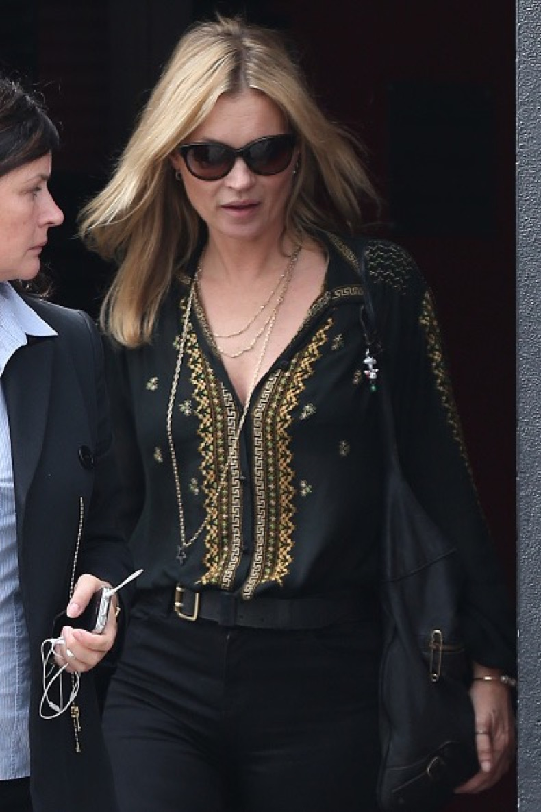 LONDON, ENGLAND - JULY 31:  Kate Moss seen leaving E & O Restaurant in Notting Hill on July 31, 2015 in London, England.  (Photo by Neil Mockford/GC Images)