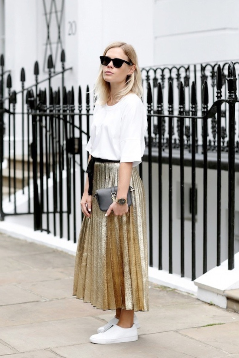 le-fashion-blog-blogger-style-sunglasses-white-tee-gold-pleated-skirt-black-belt-gold-watch-mini-ysl-bag-sneakers-via-we-the-people