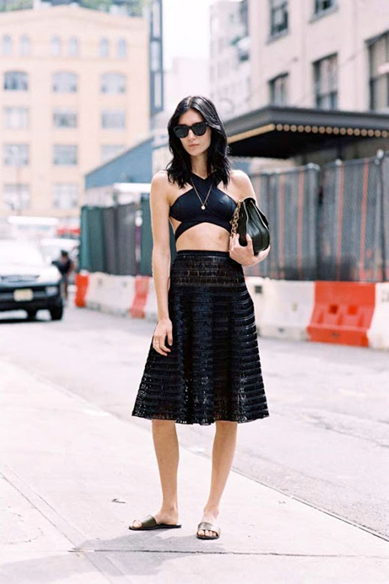 le-fashion-blog-street-style-all-black-look-sunglasses-strappy-crop-top-midi-skirt-chain-strap-bag-slide-sandals-via-vanessa-jackman