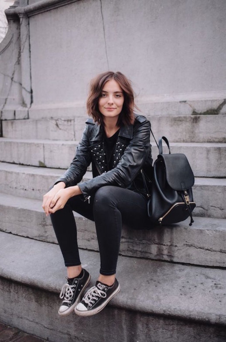 le-fashion-blog-ways-to-wear-black-converse-sneakers-short-hair-studded-leather-jacket-backpack-skinny-jeans-blogger-style-via-polienne