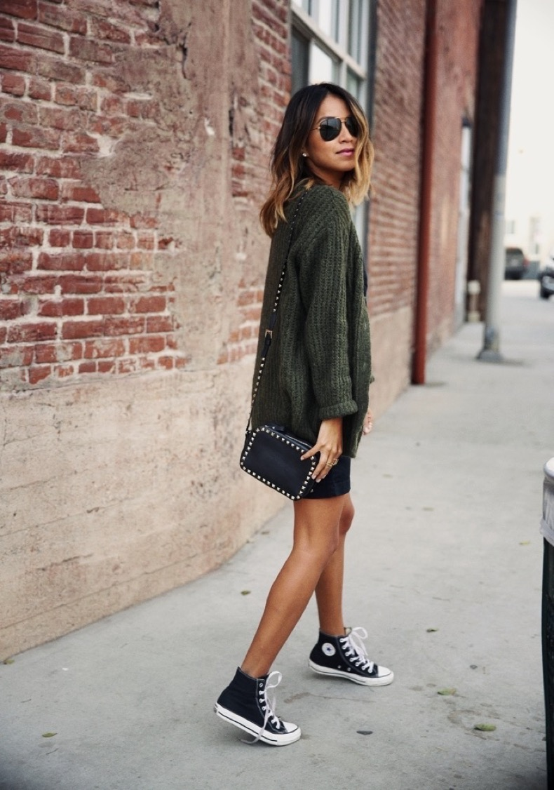 le-fashion-blog-ways-to-wear-black-high-top-converse-sneakers-green-knit-sweater-stud-crossbody-bag-via-sincerely-jules