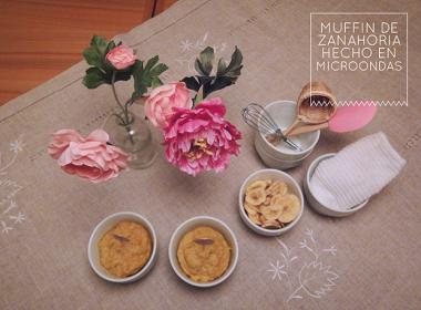 muffin de zanahoria en microondas