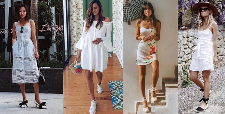 Como combinar vestido blanco corto con zapatos